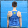 This is the back of the Strong Athletic Skater Blue Racerback Tank Top with Yellow Ink. The Strong Athletic logo is printed in yellow ink on the back of the tank. This is one of our favorite tanks, printed on Bella Canvas, the fabric is super soft and stretchy. #strongathleticskater , #strongathletic , #strongathleticskaters , #rollerderby , #rampskater , #bowlskater