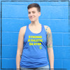 This is the front of the Strong Athletic Skater Blue Racerback Tank Top with Yellow Ink. We print this design on the very popular Bella Canvas Racerback Tank, Style no. 8430. This tank comes in sizes S-2XL. #strongathleticskater , #strongathletic , #strongathleticskaters , #rollerderby , #rampskater , #bowlskater