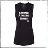 "This is the front of the Strong Athletic Nurse Flowy Muscle Tank. The fabric is Black and the ink is white. The words ""strong, athletic, nurse"" are printed on the front along with the Strong Athletic logo. The design is printed on Bella Canvas 8803. $1 from each shirt sold is donated to Feeding America. #nurselife , #strongathleticnurse , #strongathletic"