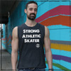 This is the front of the Strong Athletic Skater Heather Grey -ll Gender Muscle Tank with White Ink. This tank has armholes that are slightly larger than the average tank. The athlete in this photo is wearing a size large. This shirt comes in sizes XS-2XL. We print this design on Bella Canvas Jersey Muscle Tank, Style # 3483.#strongathletic , #strongathleticskater , #strongathleticskaters , #rollerderby