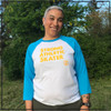 This is the front of the Strong Athletic Skater All-Gender White with Light Blue Sleeves Baseball T-Shirt with Yellow Ink. This shirt comes in sizes XS-2XL.  #strongathletic , #strongathleticskater , #strongathleticskaters , #rollerderby