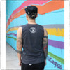 This is the back of the Strong Athletic Human Crew Neck Muscle Tank Grey with White Ink. This tank is stretchy and comfy.