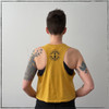 This is the back view of the Heather Mustard Yellow colored Strong Athletic Human Crop Top Racerback with black ink made by woman and LGBT+ owned and operated clothing company Strong Athletic. The sleeves of this crop are not hemmed, making it look like you cut the sleeves off of the t-shirt yourself to give it a cool racerback look. One of the things we love so much about this crop racerback is that the collar is a traditional crew-neck, so you get that classic t-shirt look on the front of the tank, and then the complimentary racerback look on the back.   This tank is for all the badass strong humans in the world! We love this Bella Canvas tank because the fabric is flexible and it breaths. This crop tank is also preshrunk, so there's no surprises on laundry day. We print this design on the Bella Canvas 6682 Crop Top Racerback Tank. All Bella shirts are made at a W.A.R.P. Certified facility.