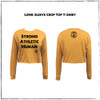 This is the front of the mustard Strong Athletic Human Long Sleeve Crop Top T-Shirt printed with black ink. The sleeves of this tee are designed to be straight-cut and slightly baggy, so they will not cling to your arms, unless you're wearing a shirt that's smaller than your measurements and you want it tight. The neck line is a classic crewneck and the cuffs are also very classic for a longsleeve tee-shirt. The lower hem of the shirt is designed to look as if you cut it yourself with a pair of scissors to get the perfect cropped t-shirt effect. This crop is about average in regard to the length of the crop. Some crops end around the upper torso, but this one is a bit longer, ending closer to the belly button. Of course the length of this crop and where it sits on your body all depends on the length of your torso and the size of the crop that you get.    We print this design on California based t-shirt co. StarTee. StarTee shirts are made at a W.A.R.P. Certified facility.  The Style No. for this Long Sleeve Crop Top Tee is ST 1170.