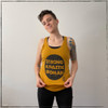 This is the Strong Athletic Woman mustard colored Full Length Racerback Tank with the words printed inside of a distressed circle in black ink. We print this design on the Next Level Full Length Racerback Tank, style number 1533 . All Next Level shirts are made at a W.A.R.P. Certified facility. This shirt is made by Strong Athletic the queer owned, woman run t-shirt company that believes in the power of athletes speaking up for what they believe in. Strong Athletic made the Strong Athletic Woman design because we know that so many women identify as strong women, yet they are often times told to stand down, be nice, apologize for their strength and to demand less than men demand in sports. We want to change that.