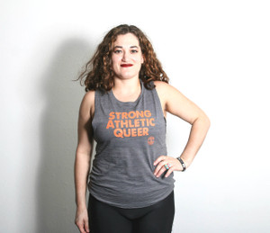 Inspired by Vagine Regime colors, orange STRONG ATHLETIC QUEER on grey flowy tank-top