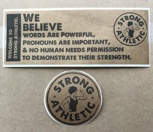 We Believe sticker + Strong Athletic sticker, both printed in black ink on paper kraft paper. These stickers are perfect for indoor use.