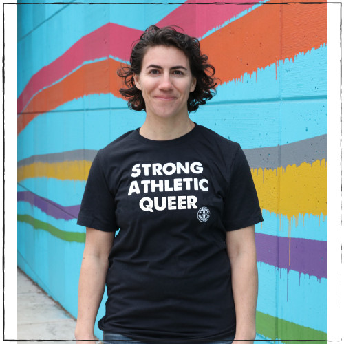 LGBT humans need visibility. That's why we created the Strong Athletic Queer design- to give a voice to gay athletes. This black tee is soft, stretchy, yet bounces back, and preshrunk. The words Strong Athletic Queer are printed in white ink and so is the Strong Athletic logo.  Are you a gay, lesbian or trans athlete who is athletics and who plays sports? This message is for you. This shirt is printed on Bella Canvas 3001CVC. Check out our size chart for sizing before you place your order.