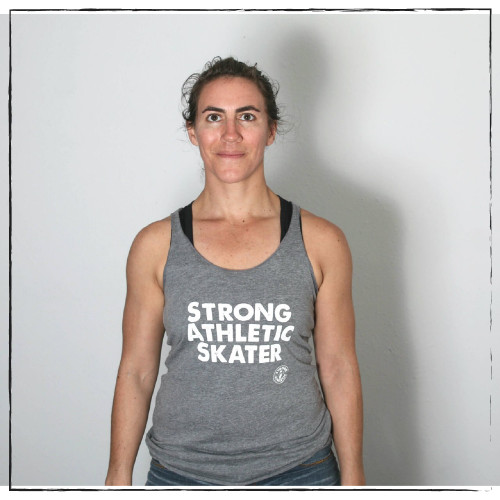 This is the Strong Athletic Skater grey full length racerback tank. The Strong Athletic logo is centered right in the middle of the should blades on the back of the tank. We print this design on Bella Canvas 8430. #strongathletic , #strongathletiskater , #rollerderby , #rollerderbyskater , #rollerderbyathlete