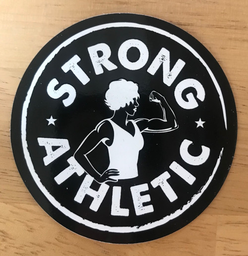 Strong Athletic Logo Sticker Black with White Art.