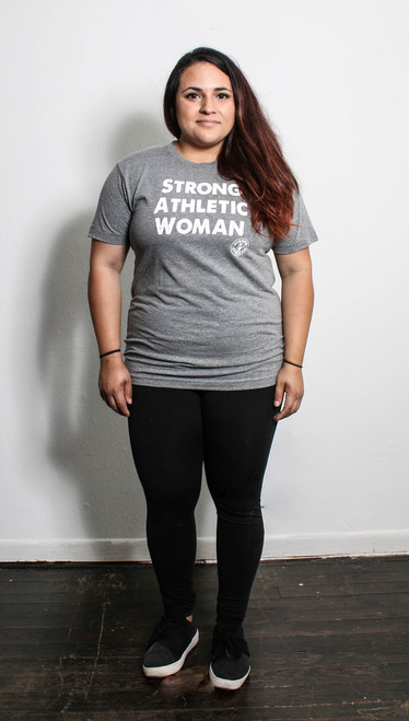 This is the front of the Strong Athletic Woman t-shirt. As you can see, it fits nice and loose, without being baggy. The sleeves are straight across the arms and hand nicely, right above the elbow. This shirt is the perfect t-shirt. It's soft, flexible and stretchy, but then it bounces right back into its original shape.