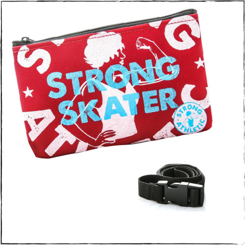 This is the front of the Strong Skater fanny pack by Strong Athletic, made by Flat Track Revolution. Flat Track Revolution is a company that is well known in the derby community. Their bags are known for their uniqueness and high quality, that is why we asked FTR to make our hip-bags for us. This heavy coated fabric is water resistant, the zippers are incredibly durable and will last through you opening and closing the bag over and over. The adjustable nylon strap has a plastic side release buckle, which locks when closed, so you don't have to worry about it opening and your bag falling off without you noticing. This bag is the perfect size to fit your wallet, cell phone, pack of gum, keys, mouthguard case (if you play roller derby or another contact sport), chapstick, hair tie, favorite bandana... you get it.