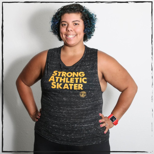 This is the front of the Strong Athletic Skater Black Marble Flowy Muscle Tank with Yellow Ink. This tank comes in sizes S-2XL. The fit is meant to be flowy and stretchy, with arm-holes that are slightly larger than the average tank. This makes is to that you can generally see a bit of what ever you might have underneath the shirt, including bras or smaller tanks. We print this design on the very popular Bella Canvas Flowy Muscle Tank, Style No. 8803. #strongathleticskater , #strongathletic , #strongathleticskaters , #rollerderby , #rampskater , #bowlskater