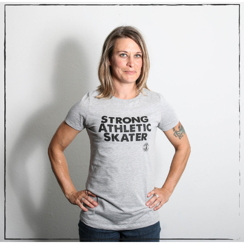 This is the front of the Strong Athletic Skater T-shirt. This grey with shirt has black ink on it and words that are about being a skater. This design is printed on Bella Canvas. You're strong. You're athletic. You skate. Wear these words in bold letters across your chest. Be proud. Stand out. Be loud. Be seen. #strongathletic , #strongathletiskater , #rollerderby , #rollerderbyskater , #rollerderbyathlete