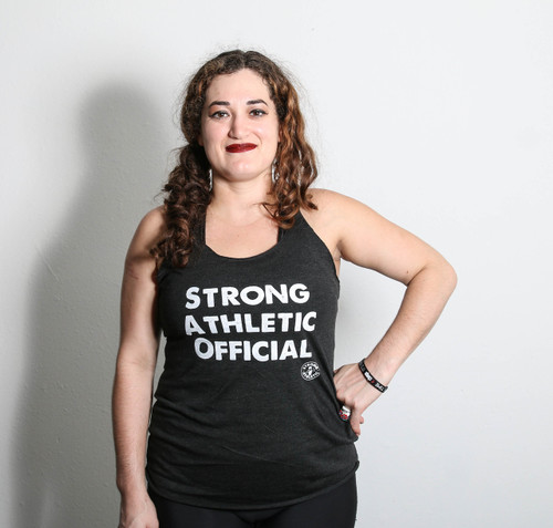 This is the front of the Strong Athletic Official racerback tank. Show off your officiating muscles in this racerback tank.