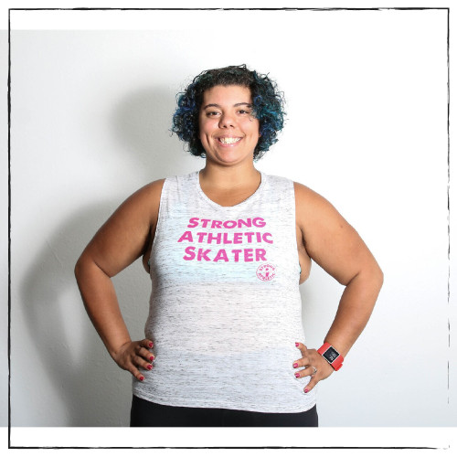 This is the front view of the Strong Athletic Skater Flowy Muscle Tank in White Marble Fabric with Hot Pink Ink. You are Strong. We created Strong Athletic so that we could help amplify the voices of athletes in sports. We print this design on Bella Canvas 8803. #strongathletic , #strongathletiskater , #rollerderby , #rollerderbyskater , #rollerderbyathlete