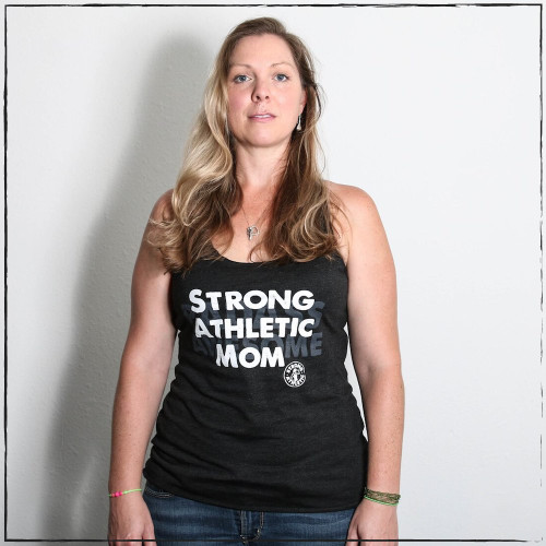 This is the Strong Athletic Badass Awesome Mom Full Length Heather Black Racerback Tank with Black and White Ink. This is the perfect tank for Strong Moms. This tank top is such a popular choice for people when they are buying Mother's Day gifts. We print this design on Bella Canvas 8430. #strongathletic , #strongathleticmom , #strongmom , #stongmoms , #momswholift , #stronglikemom , #mom , #momlife , #momblogger , #momstrong , momstrongfitness