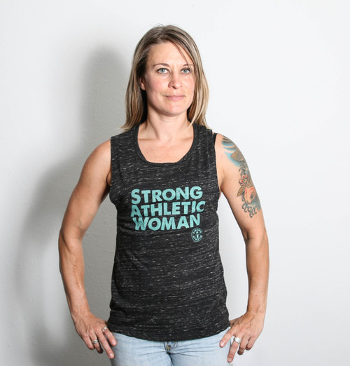 For the gym or just hanging out.  Flowy Muscle Tank. Strong Athletic Woman.  Sea-foam print on heather grey tank. See size chart provided to get the perfect fit. You are Strong. You will standout in this Strong Tank Top.