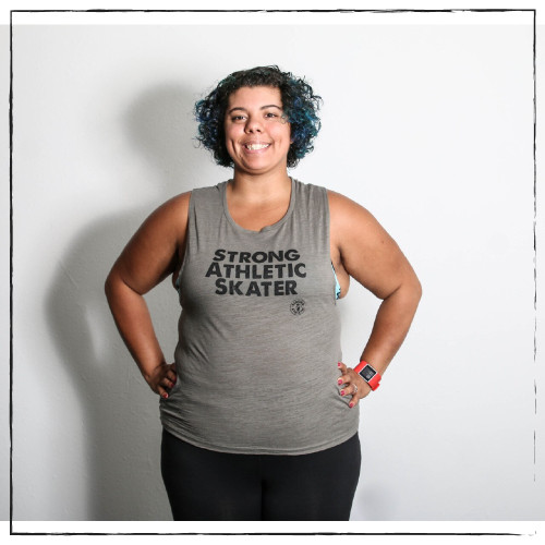 This is the front view of the Strong Athletic Skater Flowy Muscle Tank in Army Green with Black Ink.You are Strong. You will standout in this Strong Tank Top. We print this design on Bella Canvas 8803. #strongathletic , #strongathletiskater , #rollerderby , #rollerderbyskater , #rollerderbyathlete