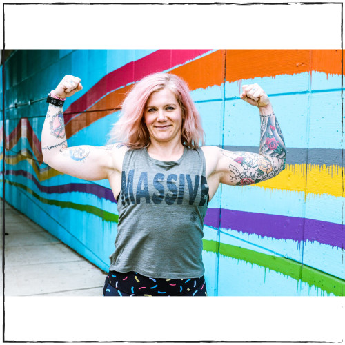 Everything about her is Massive. Her attitude towards life, what she takes on and her love for her wife. We created this tank to give Massive people like Amy a voice, you are massive, you're not weak. Don't step down. Stand up to the occasion. Be #Massive!