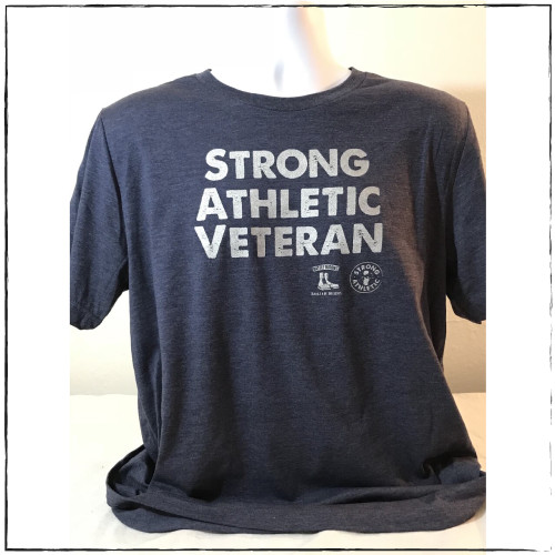 This is the front of the Strong Athletic Veteran T-shirt, which was made in collaboration with Strong Athletic and Roller Derby Battle Buddies.  22% of profits from this shirt is donated to Mission 22, an organization that supports Veterans of the US Military. This shirt is navy blue with silver ink.