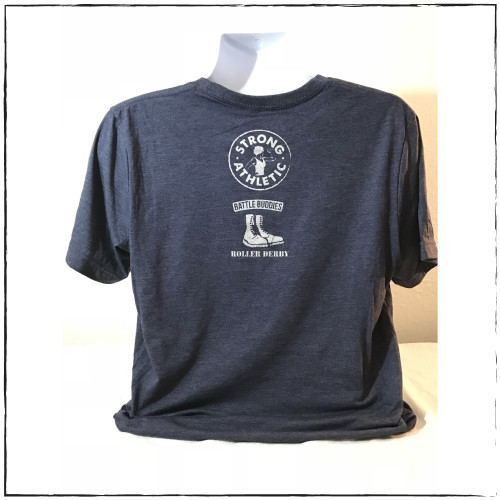 This is the back of the Strong Athletic Veteran T-shirt, which was made in collaboration with Strong Athletic and Roller Derby Battle Buddies. The Strong Athletic logo and the Battle Buddies logo are printed on the back of the shirt. This shirt is navy blue with silver ink.