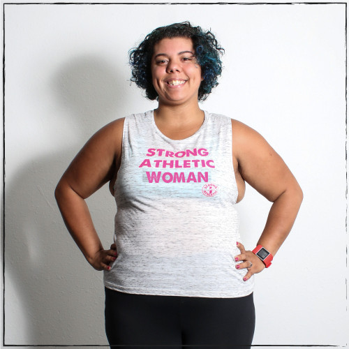 This is the front of the Strong Athletic Woman Flowy Muscle Tank with our bold hot-pink ink. This design is our original design, printed on the Bella Canvas flowy muscle tank, which is a favorite for many athletes to work out in, as it's light weight and soft. #strongathletic #strongathleticwoman #athleticwoman #strongwoman