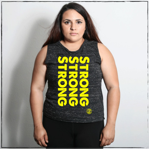 This is the front of the Strong Athletic Strong, Strong, Strong Flowy Muscle Tank black fabric with yellow-golden ink. The words and the meaning behind the words are bold, just like you. This tank is printed on the very popular black marble Bella Canvas flowy muscle tank.