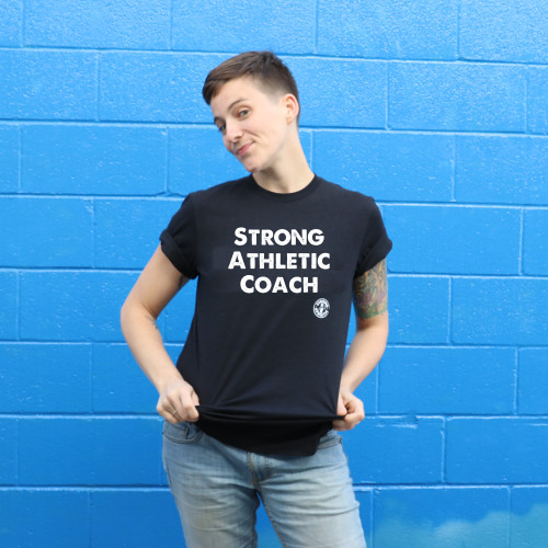 The Strong Athletic Coach shirt is perfect for any coach. Tell your coach you appreciate them by buying them this black t-shirt.
