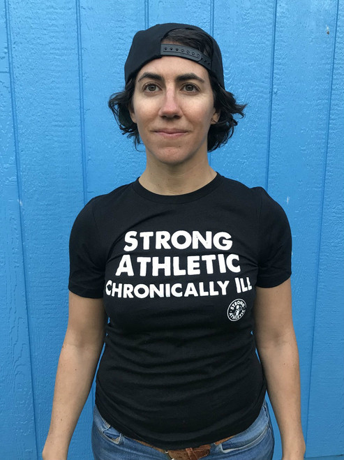This is the front of the Strong Athletic Chronically Ill t-shirt for those of you who'd like to represent, but you also like to keep your strong arm muscles concealed from the public. $1 from each of these shirts was donated in advance by Strong Athletic to the American MS Society #strongathleticchronicallyill