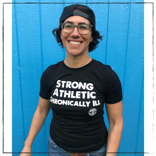 This is the front of the Strong Athletic Chronically Ill t-shirt by Strong Athletic. The Strong Athletic community asked us to make this shirt so that we could amplify the strong voices of the athletes in sport who train and compete hard, even though they have a chronic illness. $1 from each of these shirts was donated in advance by Strong Athletic to the American MS Society #strongathleticchronicallyill