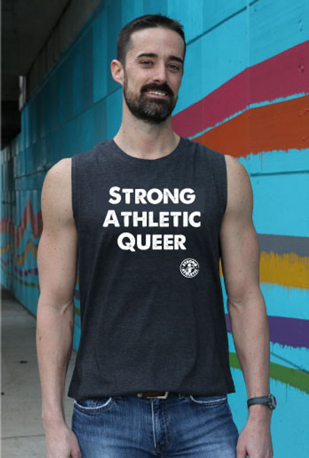 This is the Strong Athletic Queer Muscle Tank for Any Body. The Gray tank is made by Bella Canvas. The white ink pops off of the tank top. The design of this shirt is meant to be less flowy, and look like you cut the sleeves off of a t-shirt.