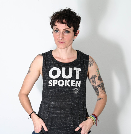 This is the front view of the OUTSpoken muscle tank printed by Strong Athletic. We made this design because sometimes in life it's important to not only be an athlete who is involved in sports, but also to be a person who speaks up for what is important to them.