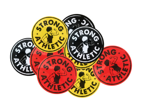 This is the Strong Athletic Logo Sticker Pack. Everyone loves stickers and now you can get packs of 3- one Black with White Ink, one Red with Black ink and one Yellow with Black Ink.