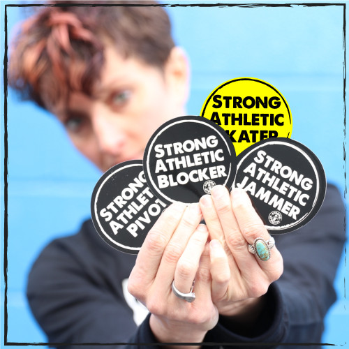 These are the 4 stickers that you get in your Sticker pack. All four stickers are 3 x 3 inches, solid black with white art. The design is made to look like it was stamped on to your sticker. Play roller derby? These stickers make for a perfect gift for your league's MVPs or to stick on your water bottle that you take to every practice and every bout. . #rollerderby , #strongathletic , #strongathleticskater , #rollerderbytriplethreat
