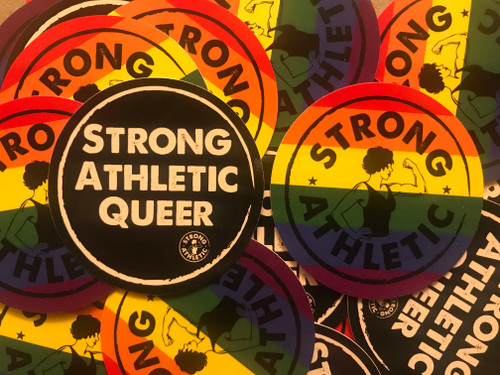"""We think these two stickers make a perfect pair! The Strong Athletic Queer sticker compliments the Strong Athletic Rainbow Sticker.  We know it's a privilege and also a human right, and for those of us who can be """"out"""" let's do it for everyone else who is unable to be.  Be out and proud!"""