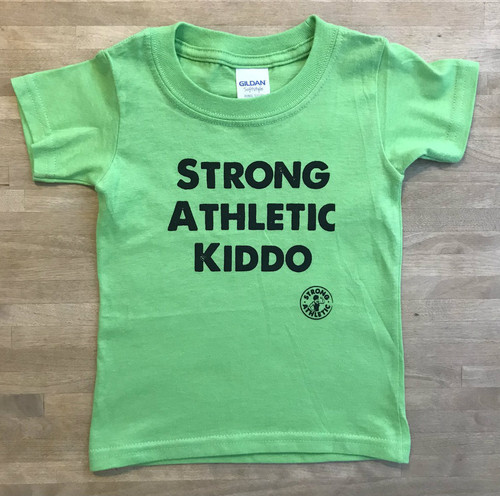 This is the Strong Athletic Kiddo t-shirt in bright, apple green. This is for all the kids in the world who love to play, have fun, explore and try new things, especially sports! Every kid has the potential to be strong! Let's tell the world!