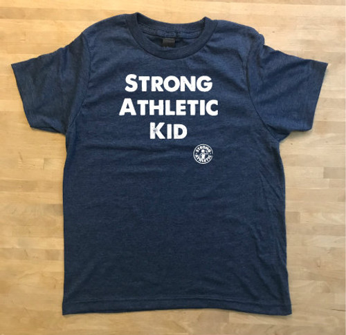 This is the Strong Athletic Kid T-Shirt in heather denim with white ink. We created this t-shirt for all of the strong and athletic kids in the world (that's actually every kid...) who loves playing sports, being outside, being active and having adventures!