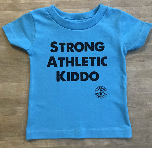 This is our Strong Athletic Kiddo Infant T-shirt in Aqua with black ink. At Strong Athletic we believe that every child is strong. We think the sooner we remind children that they are strong and capable, the better. Athletic and athlete mean many things, how do you want your kiddo to interpret it?