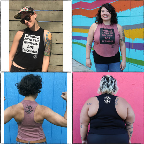 Looking for your next favorite tank that makes a feminist statement? This is the Strong Athletic Grown-Ass Woman Racerback Crop Top by queer-woman owned clothing company Strong Athletic. We made this tank for all of the bad ass strong women in the world who want to make a statement when they go out. Are you an athlete? Do you play sports, exercise, go outside or just do things to stay physically active? Do you love taking care of your body and your brain? It sounds like you would make a great member of the Strong Athletic Movement. Join us and become part of the movement to make sports more accessible, open, inclusive and safe for women and members of the LGBTQIA2S+ community. We print this design on the Bella Canvas 6682 Crop Top Racerback Tank. All Bella shirts are made at a W.A.R.P. Certified facility.