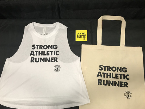 This is the front of the Strong Athletic Runner Crop Top Tank Top along with the Strong Athletic Runner Tote Bag and sticker. When you order one of these crops, you automatically get a free tote plus a sticker with it. Good times! Looking for a gift for a runner? You've come to the right spot!