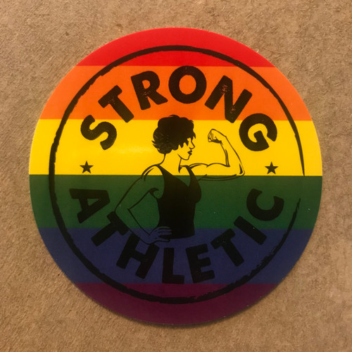 Strong Athletic is an LGBTQIA company and we support all LGBT+ athletes in sports. Period. This is our Pride Sticker, with a combination of the original Strong Athletic Strong Woman Logo and the colors of the rainbow that symbolize our proud and strong community.