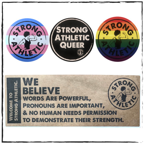 "This is the Strong Athletic LGBTQIA Sticker Pack. It includes our Strong Athletic Queer Sticker, our Trans Pride Sticker, our Pride Sticker and our ""We Believe"" Sticker. When you purchase this sticker pack, you get all 4 stickers. If you order multiple sticker packs, you get multiple set of 4. #strongathletic , #strongathleticqueer , #strongathletictrans , #webelieve , #gayathletes , #queerathlete , #gayathlete , #queerathletes , #pride , #lgbtqia2s+ #lgbtqia , #lgbtq"