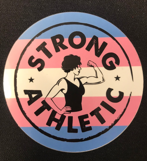 Strong Athletic is an LGBTQIA company and we support all LGBTIA athletes in sports. Period. This is our Trans Pride Sticker, with a combination of the original Strong Athletic Strong Woman Logo and the colors of the trans flag that was created by Monica Helms in 1999.