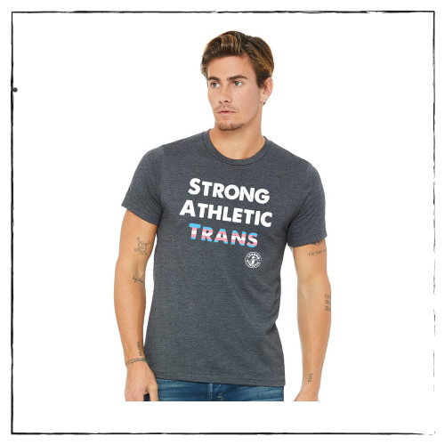 This is the front of the Strong Athletic Trans T-shirt that Strong Athletic made for members of the LGBTQIA Community. This design is a combination of the original Strong Athletic shirt and the colors of the Trans Flag which were created by Monica Helms. This design is printed on Bella Canvas 3001CVC all gender t-shirt. #strongathletic , #strongathletictrans