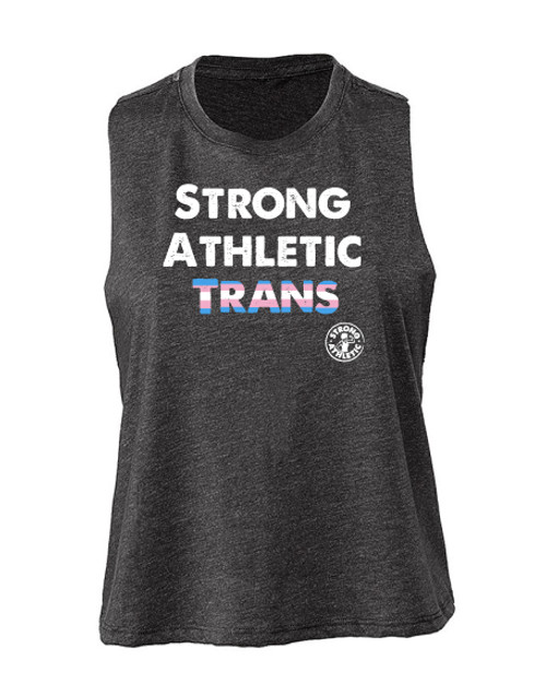 This is the front of the Strong Athletic Trans Crop Top made by Strong Athletic in collaboration with members from the Strong Athletic Community.