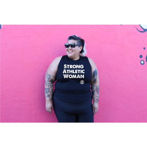 This is the front of the Strong Athletic Woman Crop Top Racerback with Black White Ink. This is one of our favorite shirts to print on. This crop really varies in size as it gets larger it also gets longer. We print this design on the ever popular Bella Canvas 6682. #strongathletic , #strongathleticwoman , #strongathleticwomen , #womenwholift , #womeninsports , #strongwoman , #juststrong , #strong , #womeninsports #womeninathletics , #feministinsports