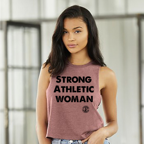 This is the front of the Strong Athletic Woman Mauve Racerback Crop Top.  Ever wonder who makes the Strong Athletic Woman shirts? Wonder no more, you've found us!