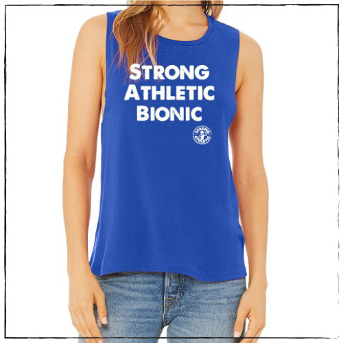 This is the front of the Strong Athletic Bionic Muscle Tank, printed on a royal blue Bella Canvas Flowy Muscle Tank, 8803. The words are printed in white ink on the front. The arm holes of this tank are cut to be low enough to see a bit of your bra, but not so much. This tank is probably the most popular style of tank that Strong Athletic has.  #strongathletic , #strongathleticbionic , #rollerderbylife ,  #bloodsweatandtears , #bionic , #bionicwoman , #bionicman , #rollerderby , #strongathleticskater