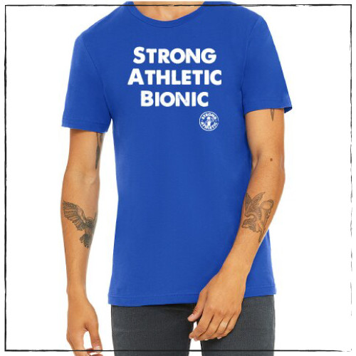 This is the front of the Strong Athletic Bionic T-shirt, printed on a royal blue Bella Canvas tee, 3001. The words are printed in white ink on the front. #strongathletic , #strongathleticbionic , #rollerderbylife ,  #bloodsweatandtears , #bionic , #bionicwoman , #bionicman , #rollerderby , #strongathleticskater